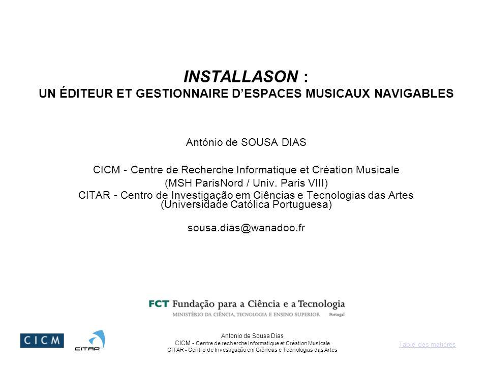 Table des matières Antonio de Sousa Dias CICM - Centre de recherche Informatique et Création Musicale CITAR - Centro de Investigação em Ciências e Tec
