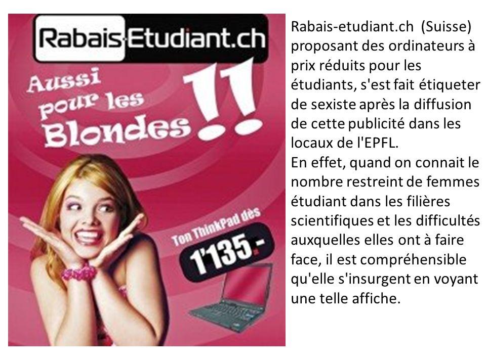 Rabais-etudiant.ch (Suisse) proposant des ordinateurs à prix réduits pour les étudiants, s'est fait étiqueter de sexiste après la diffusion de cette p