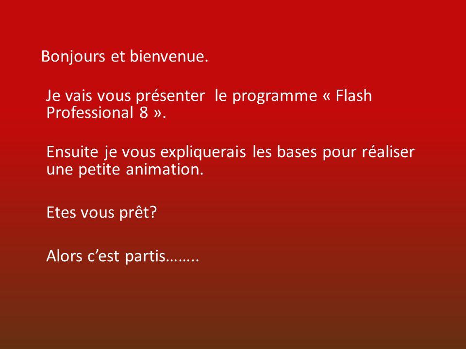 Bonjours et bienvenue.Je vais vous présenter le programme « Flash Professional 8 ».