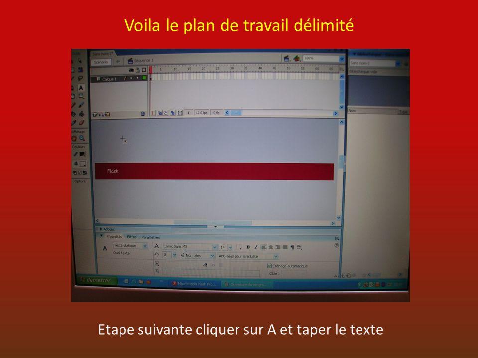 Voila le plan de travail délimité Etape suivante cliquer sur A et taper le texte