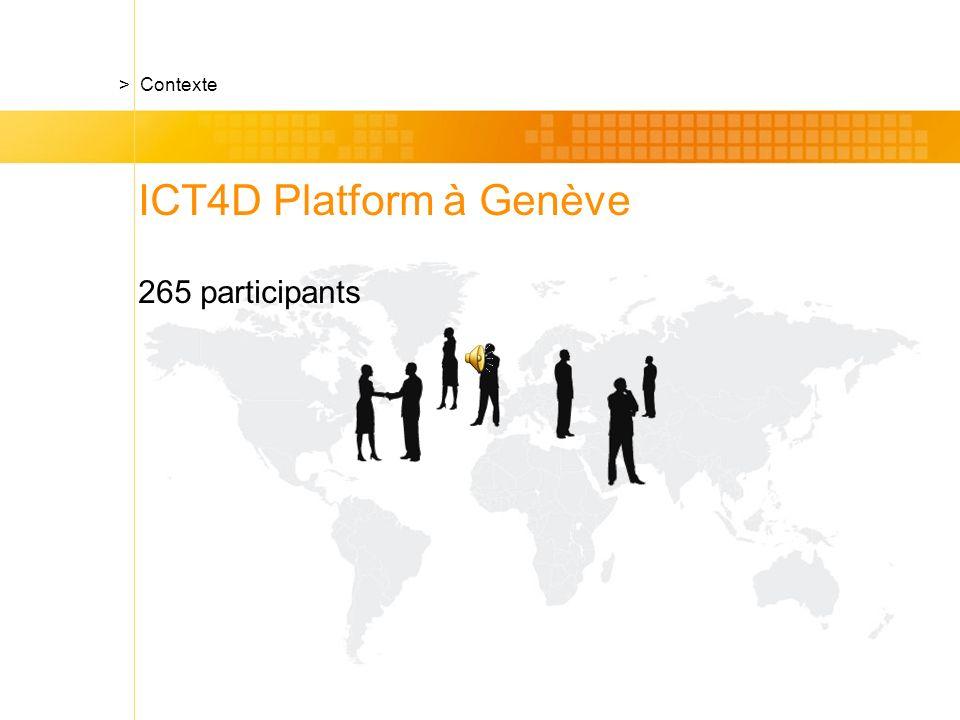 ICT4D Platform à Genève 265 participants > Contexte