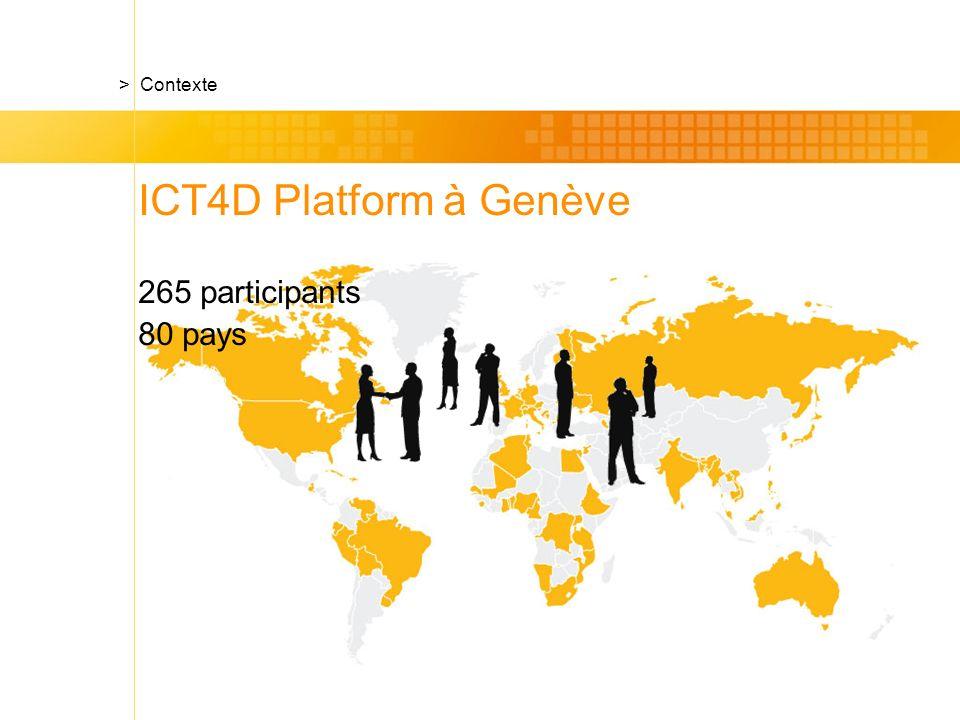 ICT4D Platform à Genève 265 participants 80 pays > Contexte