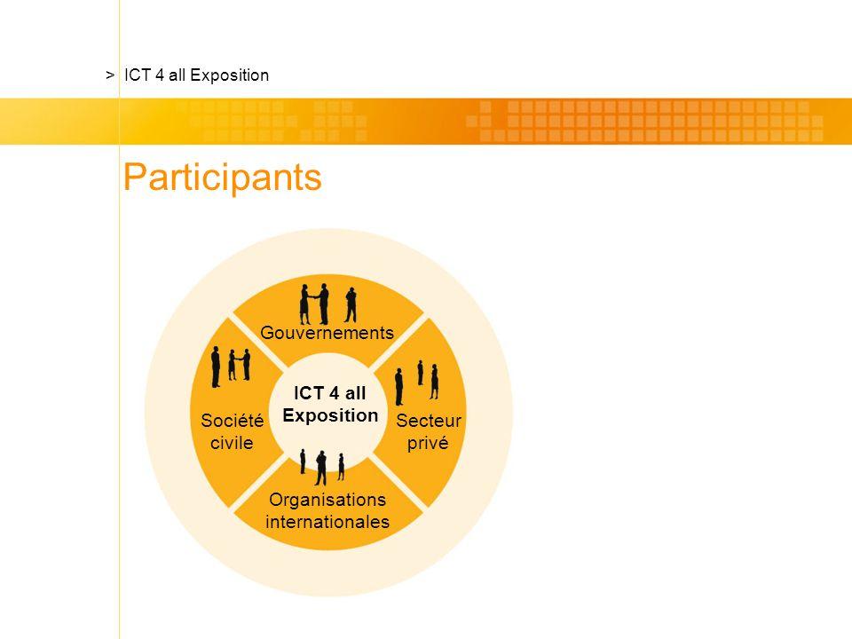 Société civile ICT 4 all Exposition > ICT 4 all Exposition Gouvernements Secteur privé Organisations internationales Participants
