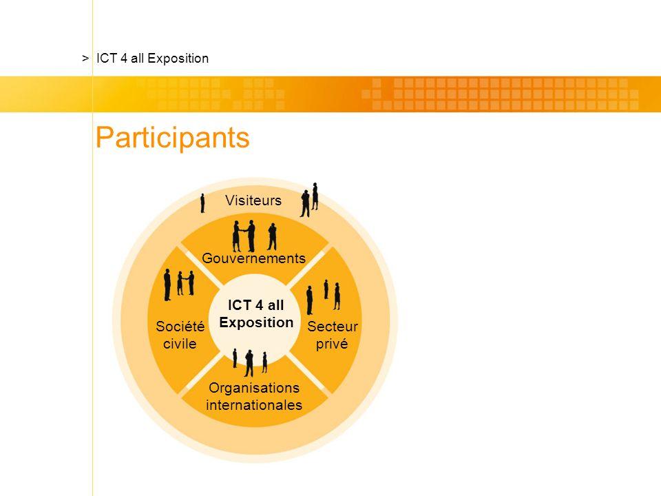 Gouvernements Visiteurs ICT 4 all Exposition Secteur privé Organisations internationales Société civile > ICT 4 all Exposition Participants