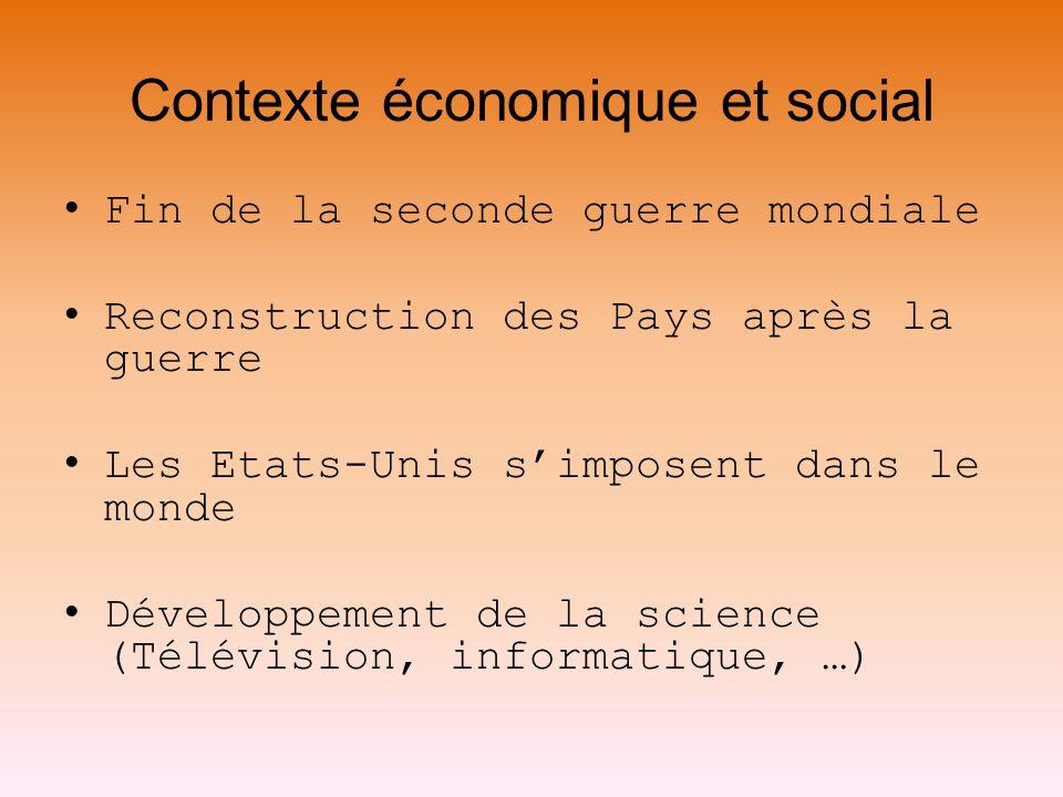 Contexte économique et social Fin de la seconde guerre mondiale Reconstruction des Pays après la guerre Les Etats-Unis simposent dans le monde Dévelop