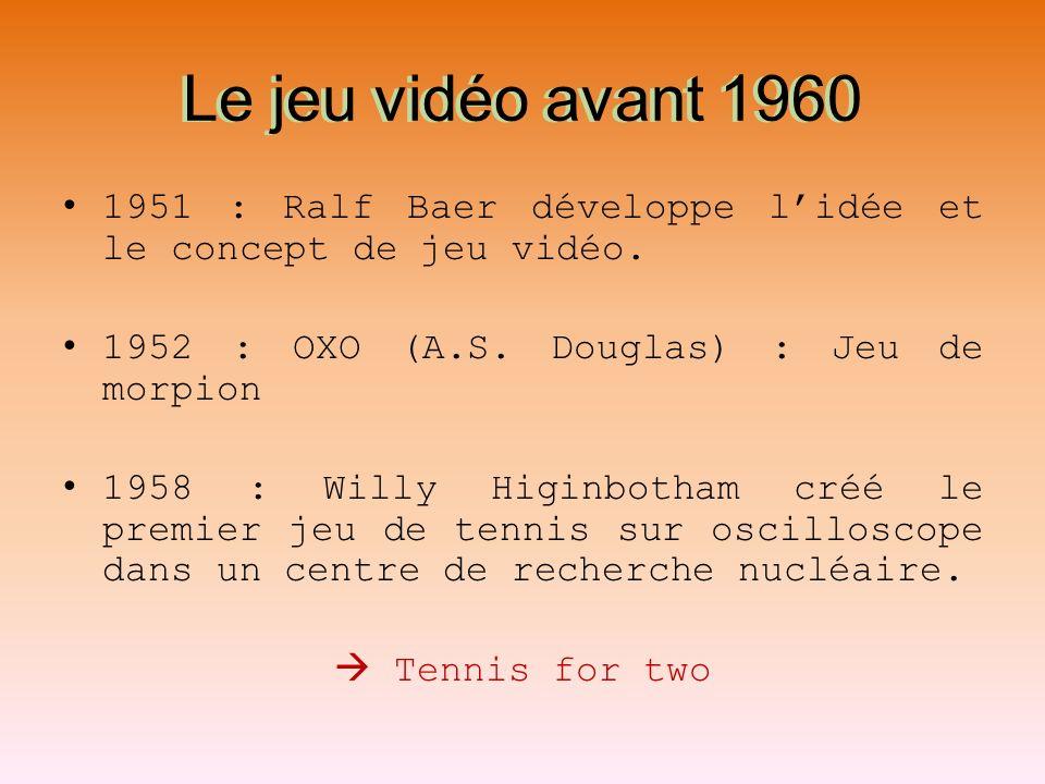 Le jeu vidéo avant 1960 1951 : Ralf Baer développe lidée et le concept de jeu vidéo. 1952 : OXO (A.S. Douglas) : Jeu de morpion 1958 : Willy Higinboth