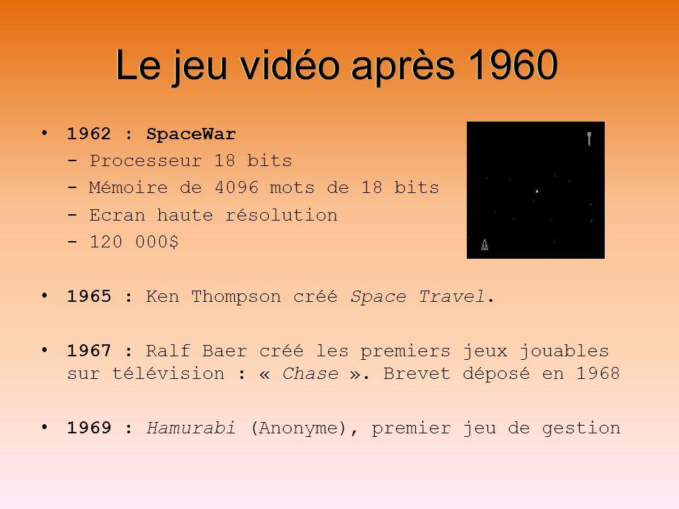 Le jeu vidéo après 1960 1962 : SpaceWar - Processeur 18 bits - Mémoire de 4096 mots de 18 bits - Ecran haute résolution - 120 000$ 1965 : Ken Thompson