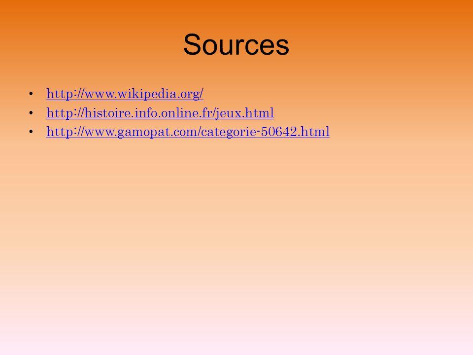 Sources http://www.wikipedia.org/ http://histoire.info.online.fr/jeux.html http://www.gamopat.com/categorie-50642.html