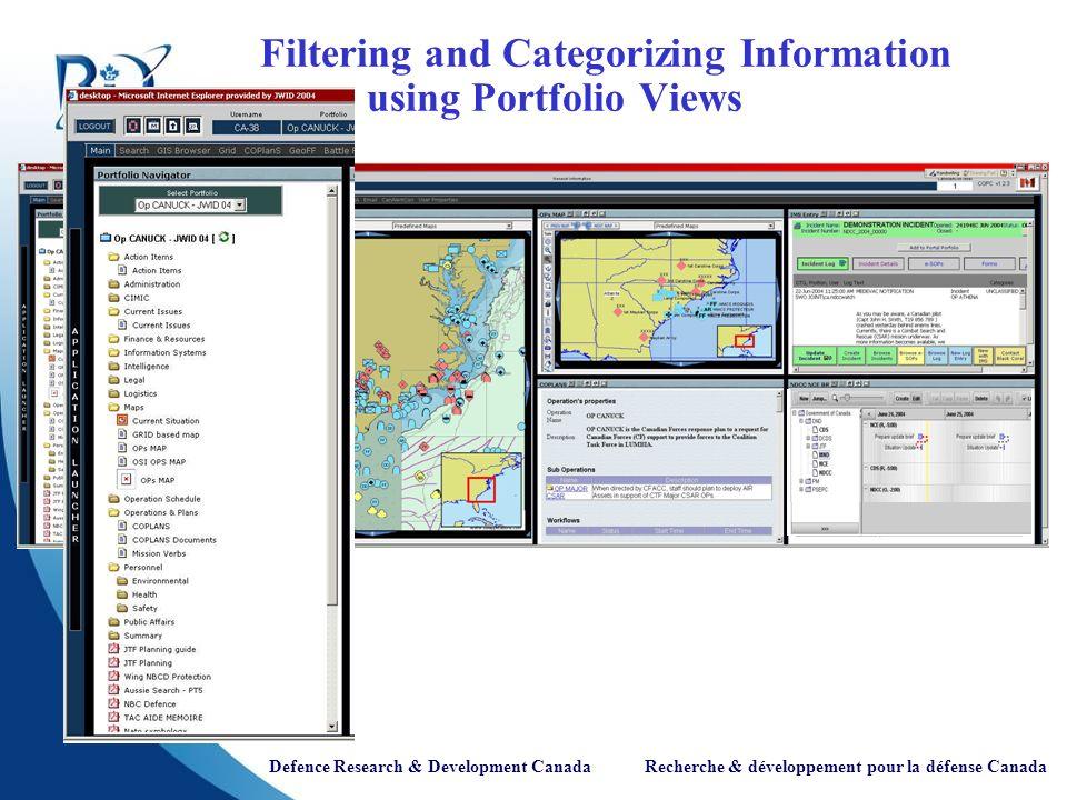 Defence Research & Development Canada Recherche & développement pour la défense Canada Filtering and Categorizing Information using Portfolio Views