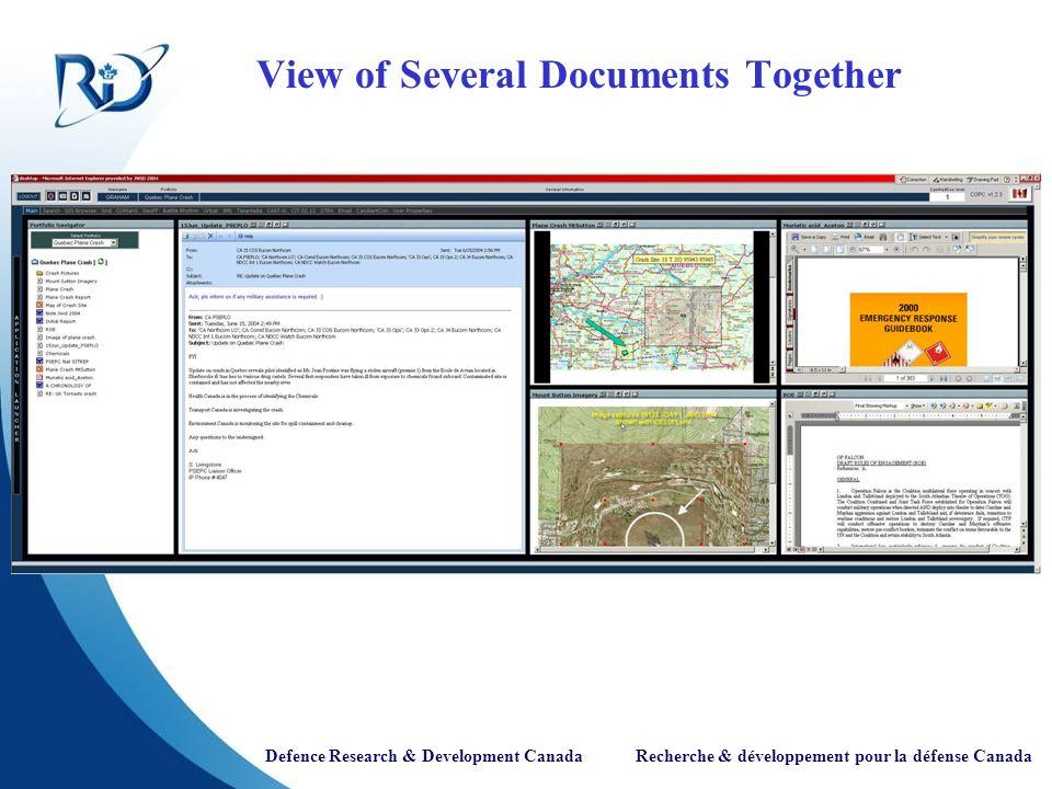 Defence Research & Development Canada Recherche & développement pour la défense Canada View of Several Documents Together