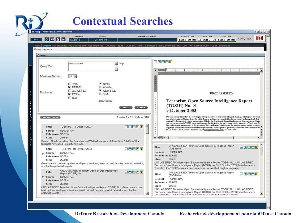 Defence Research & Development Canada Recherche & développement pour la défense Canada Contextual Searches