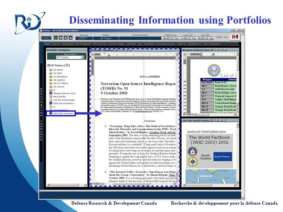 Defence Research & Development Canada Recherche & développement pour la défense Canada Disseminating Information using Portfolios