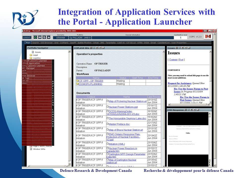Defence Research & Development Canada Recherche & développement pour la défense Canada Integration of Application Services with the Portal - Application Launcher