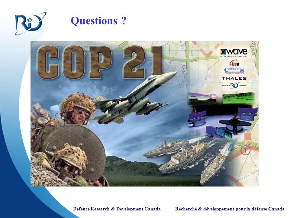 Defence Research & Development Canada Recherche & développement pour la défense Canada Questions