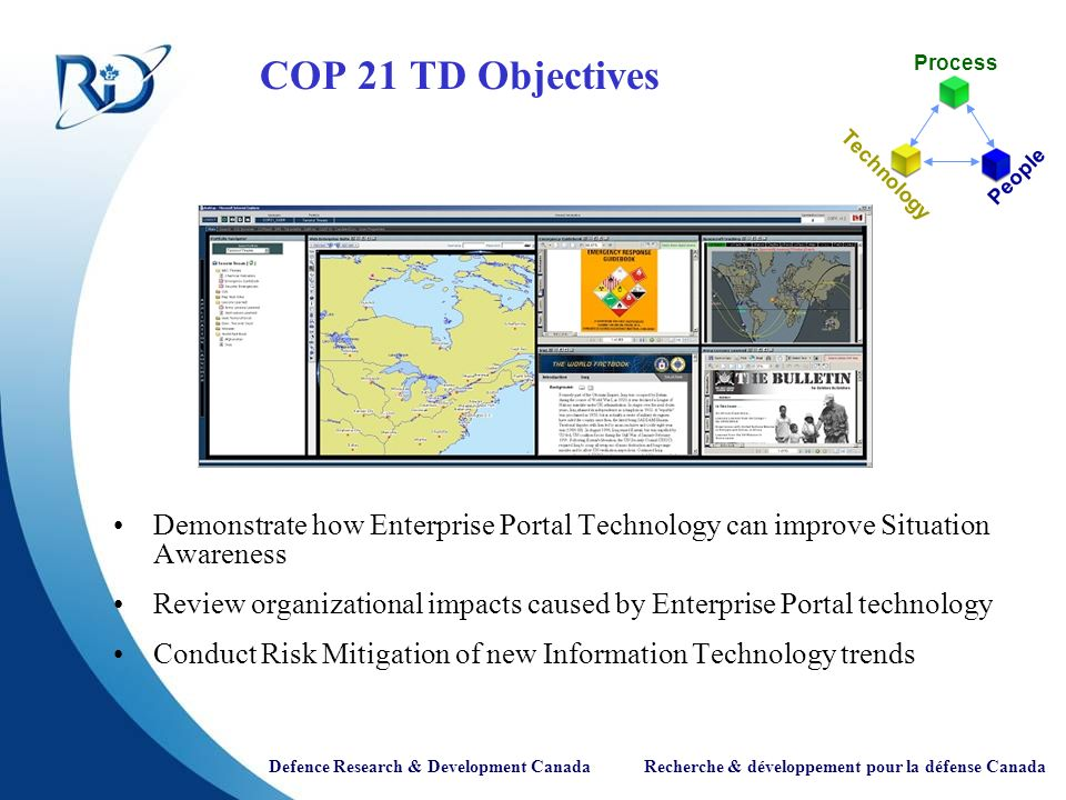 Defence Research & Development Canada Recherche & développement pour la défense Canada COP 21 TD Objectives Demonstrate how Enterprise Portal Technology can improve Situation Awareness Review organizational impacts caused by Enterprise Portal technology Conduct Risk Mitigation of new Information Technology trends Process Technology People