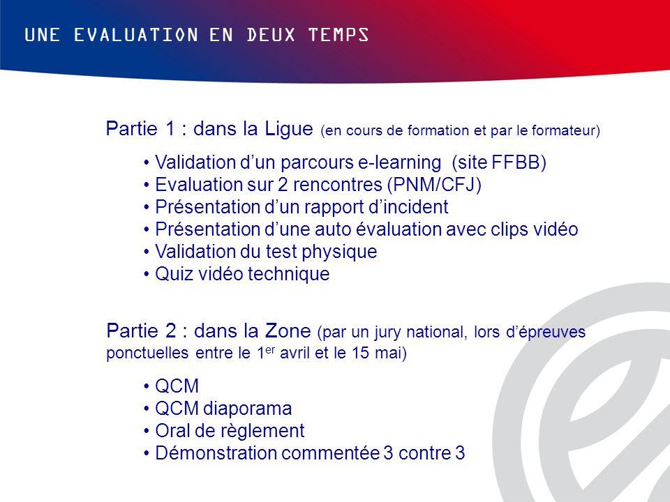 UNE EVALUATION EN DEUX TEMPS Partie 1 : dans la Ligue (en cours de formation et par le formateur) Validation dun parcours e-learning (site FFBB) Evalu