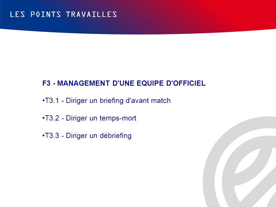 LES POINTS TRAVAILLES F3 - MANAGEMENT D'UNE EQUIPE D'OFFICIEL T3.1 - Diriger un briefing d'avant match T3.2 - Diriger un temps-mort T3.3 - Diriger un