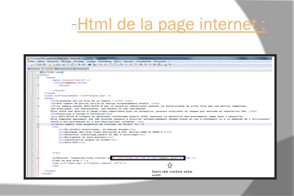 Html de la page internet :