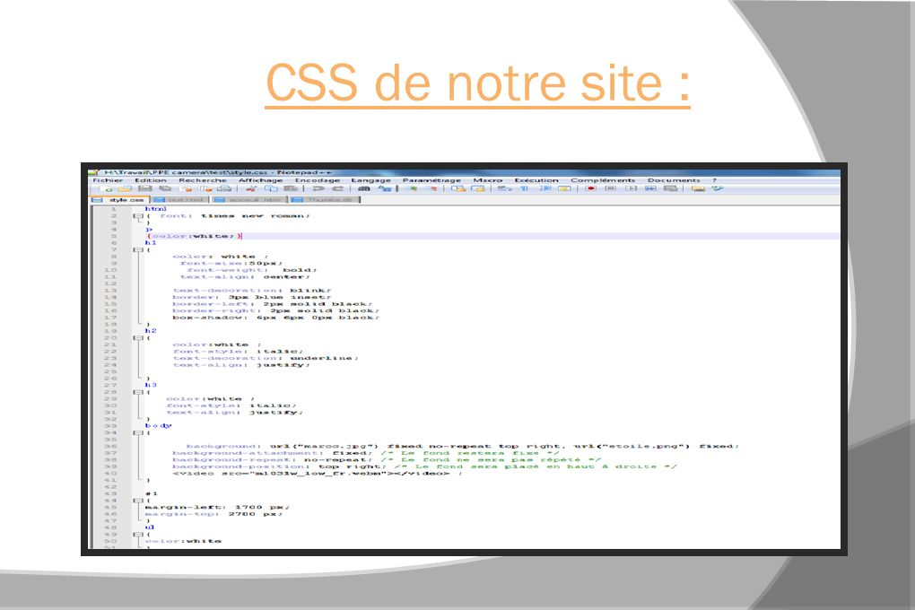 CSS de notre site :