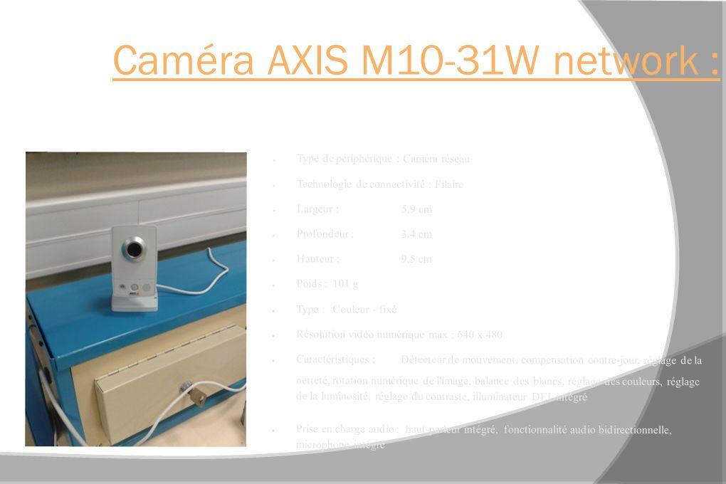 Caméra AXIS M10-31W network : Type de périphérique : Caméra réseau Technologie de connectivité : Filaire Largeur :5.9 cm Profondeur : 3.4 cm Hauteur :9.5 cm Poids :101 g Type :Couleur - fixé Résolution vidéo numérique max : 640 x 480 Caractéristiques :Détecteur de mouvement, compensation contre-jour, réglage de la netteté, rotation numérique de l image, balance des blancs, réglage des couleurs, réglage de la luminosité, réglage du contraste, illuminateur DEL intégré Prise en charge audio : haut-parleur intégré, fonctionnalité audio bidirectionnelle, microphone intégré