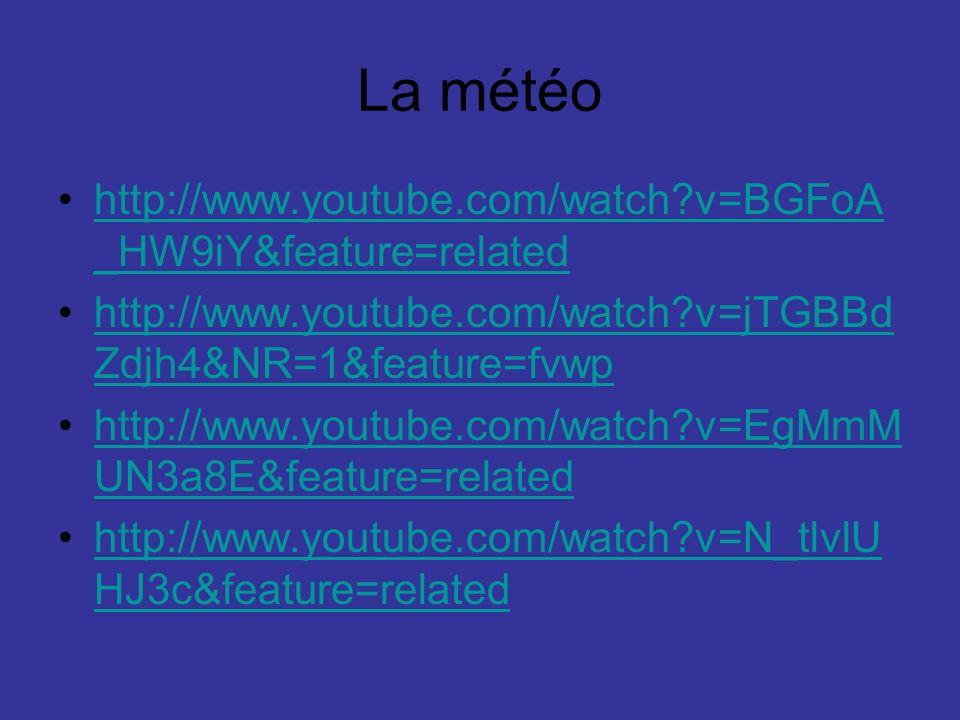 La météo http://www.youtube.com/watch?v=BGFoA _HW9iY&feature=relatedhttp://www.youtube.com/watch?v=BGFoA _HW9iY&feature=related http://www.youtube.com