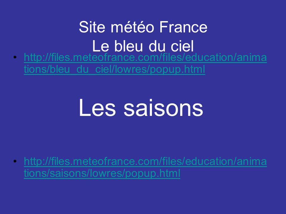 Site météo France Le bleu du ciel http://files.meteofrance.com/files/education/anima tions/bleu_du_ciel/lowres/popup.htmlhttp://files.meteofrance.com/