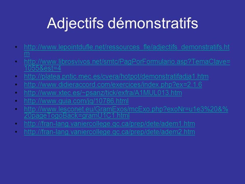 Adjectifs démonstratifs http://www.lepointdufle.net/ressources_fle/adjectifs_demonstratifs.ht mhttp://www.lepointdufle.net/ressources_fle/adjectifs_de