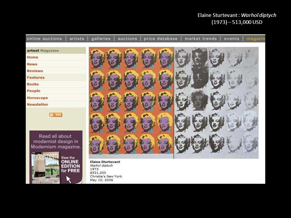 Elaine Sturtevant : Warhol diptych (1973) – 513,000 USD