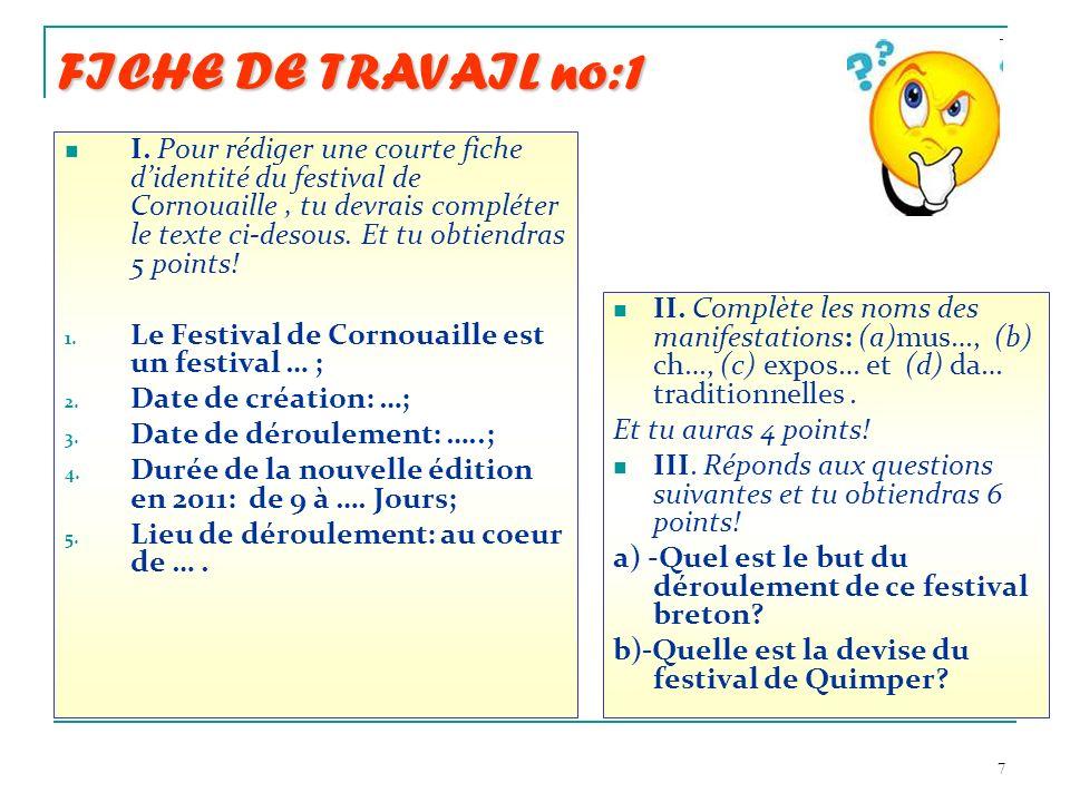 7 FICHE DE TRAVAIL no:1 I. Pour rédiger une courte fiche didentité du festival de Cornouaille, tu devrais compléter le texte ci-desous. Et tu obtiendr