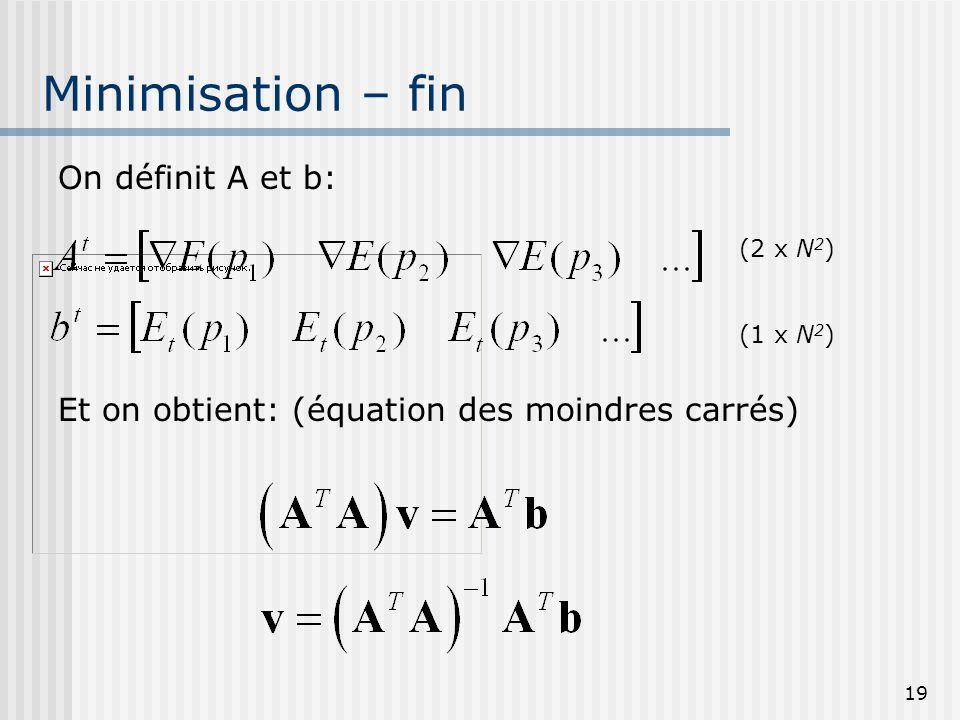 19 Minimisation – fin On définit A et b: Et on obtient: (équation des moindres carrés) (2 x N 2 ) (1 x N 2 )