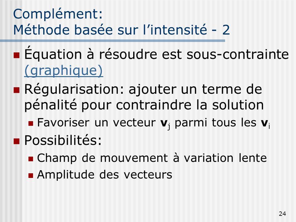 24 Complément: Méthode basée sur lintensité - 2 Équation à résoudre est sous-contrainte (graphique) (graphique) Régularisation: ajouter un terme de pé