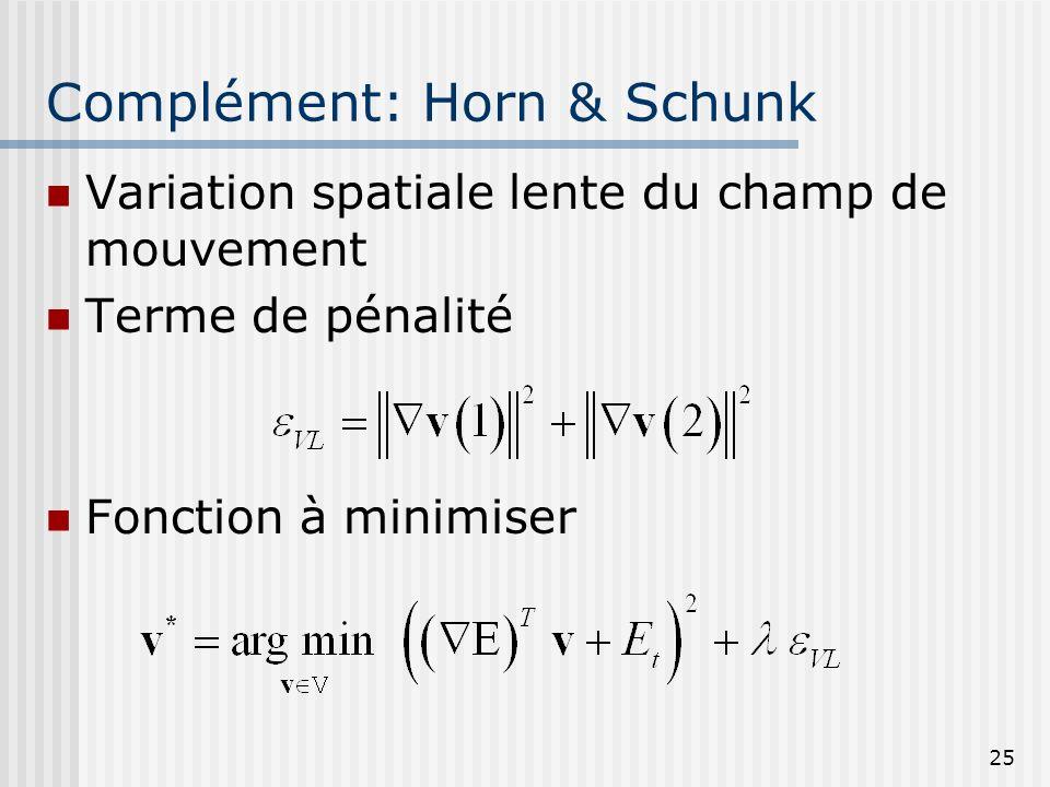 25 Complément: Horn & Schunk Variation spatiale lente du champ de mouvement Terme de pénalité Fonction à minimiser