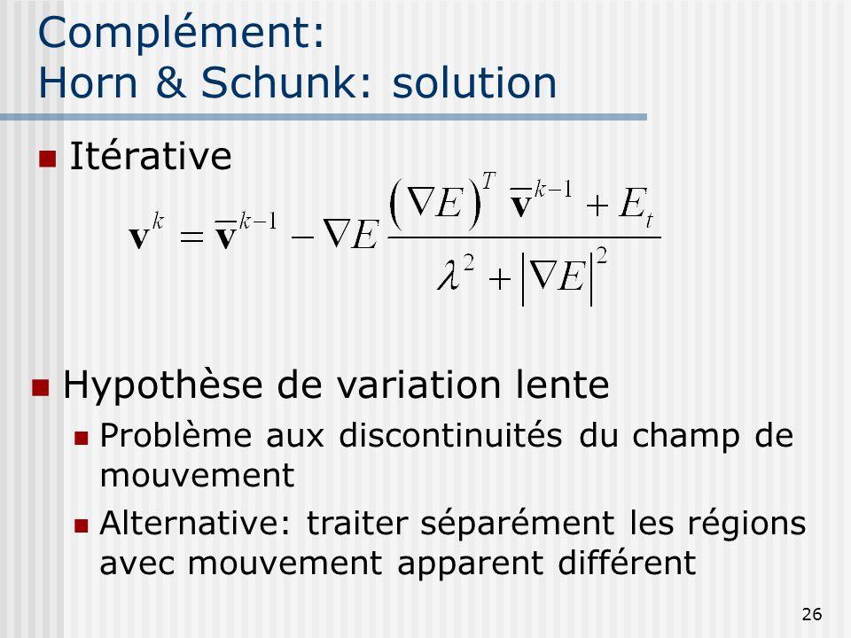 26 Complément: Horn & Schunk: solution Itérative Hypothèse de variation lente Problème aux discontinuités du champ de mouvement Alternative: traiter s