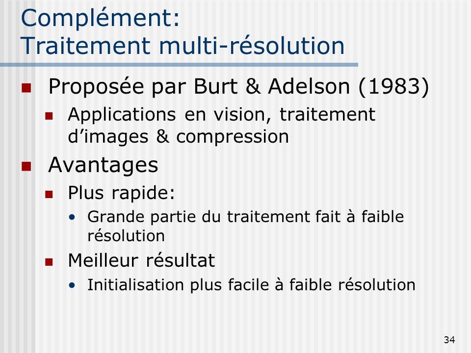 34 Complément: Traitement multi-résolution Proposée par Burt & Adelson (1983) Applications en vision, traitement dimages & compression Avantages Plus