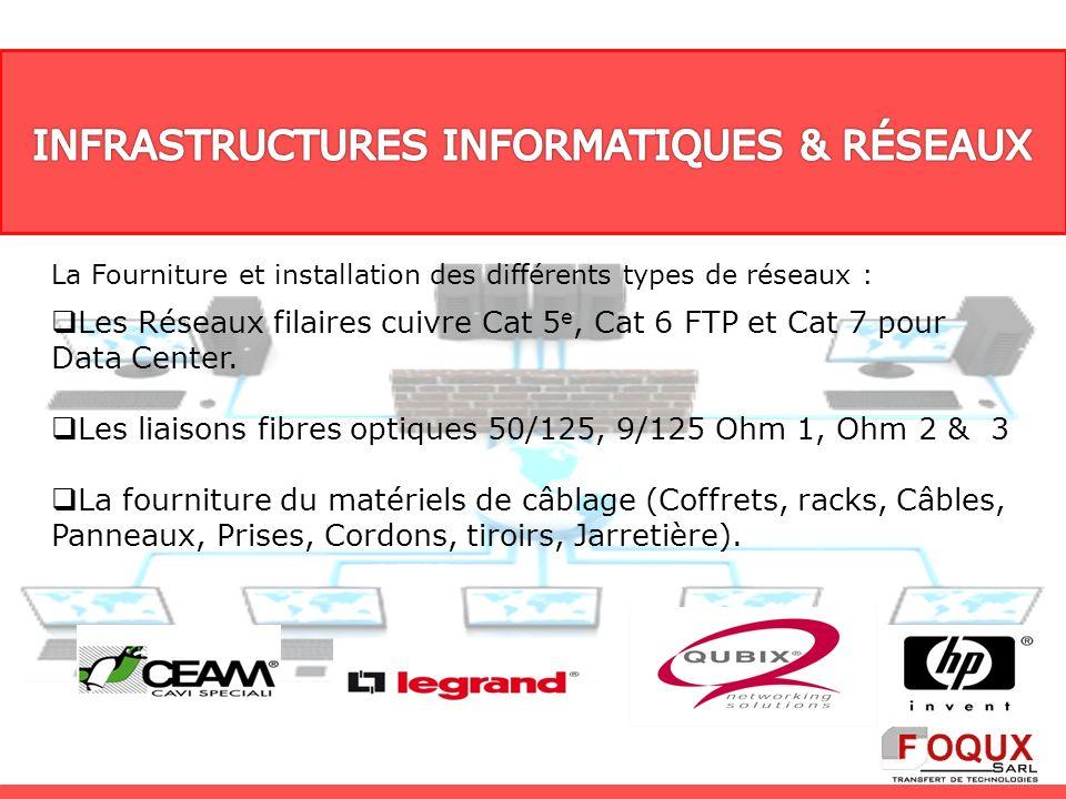 La Fourniture et installation des différents types de réseaux : Les Réseaux filaires cuivre Cat 5 e, Cat 6 FTP et Cat 7 pour Data Center. Les liaisons