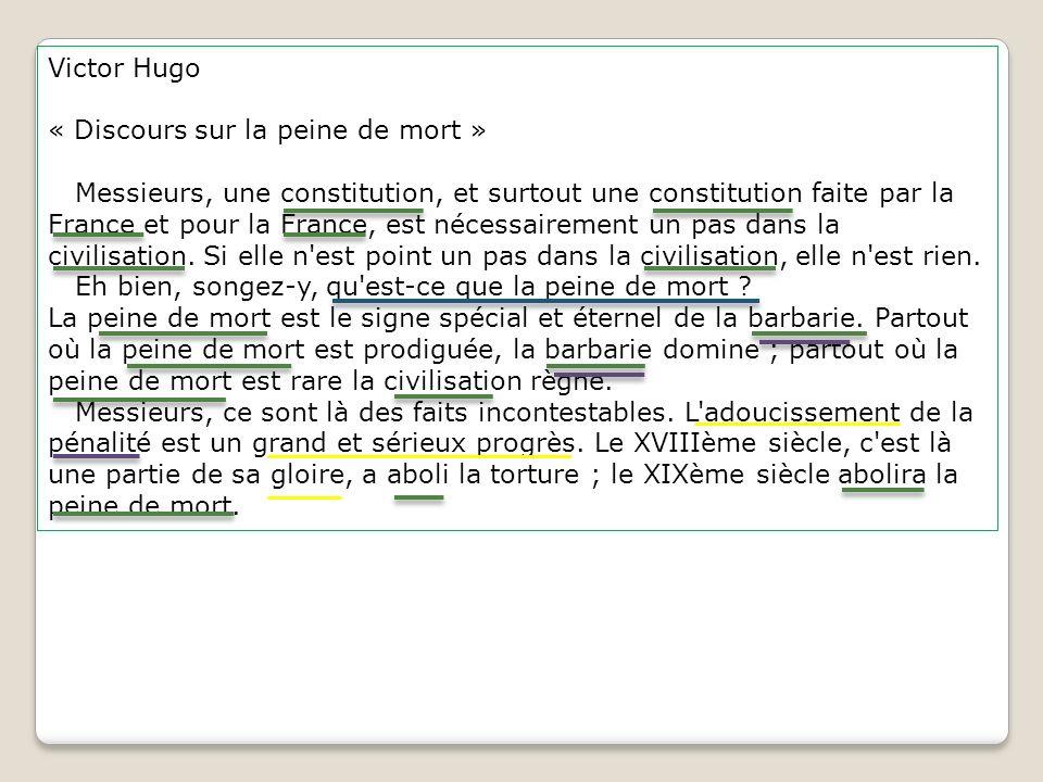 Victor Hugo « Discours sur la peine de mort » Messieurs, une constitution, et surtout une constitution faite par la France et pour la France, est néce