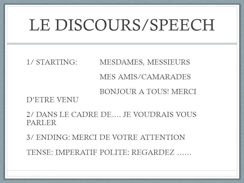 LE DISCOURS/SPEECH 1/ STARTING: MESDAMES, MESSIEURS MES AMIS/CAMARADES BONJOUR A TOUS! MERCI DETRE VENU 2/ DANS LE CADRE DE…. JE VOUDRAIS VOUS PARLER