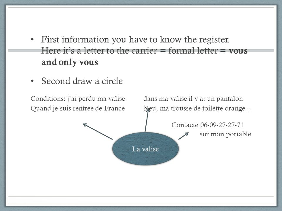 First information you have to know the register. Here its a letter to the carrier = formal letter = vous and only vous Second draw a circle Conditions