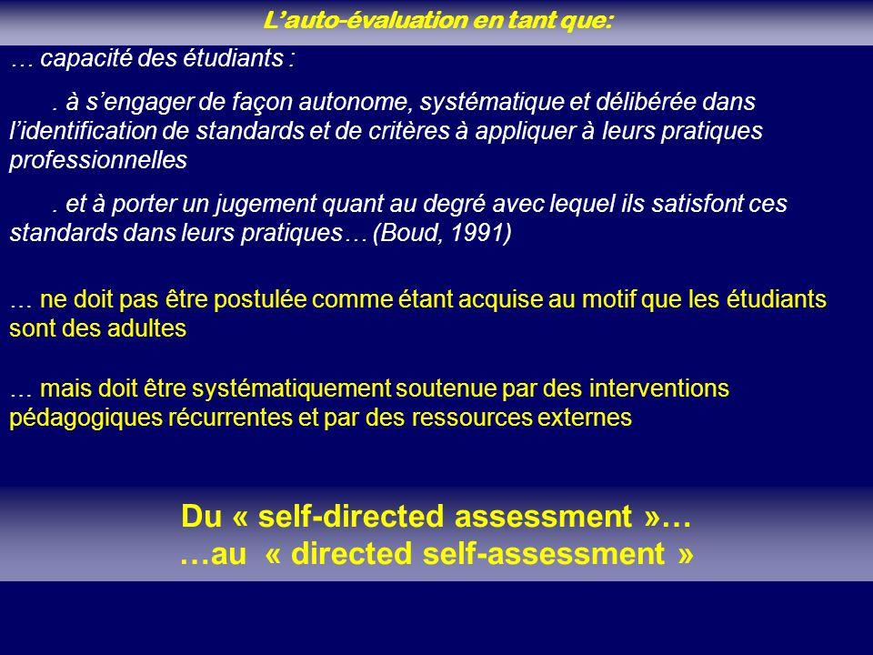 Lauto-évaluation en tant que: … capacité des étudiants :.