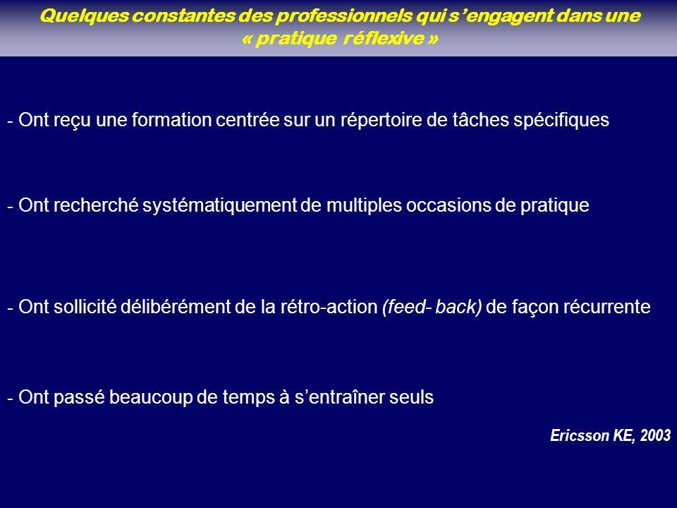 Quelques constantes des professionnels qui sengagent dans une « pratique réflexive » - Ont sollicité délibérément de la rétro-action (feed- back) de façon récurrente - Ont reçu une formation centrée sur un répertoire de tâches spécifiques - Ont recherché systématiquement de multiples occasions de pratique - Ont passé beaucoup de temps à sentraîner seuls Ericsson KE, 2003