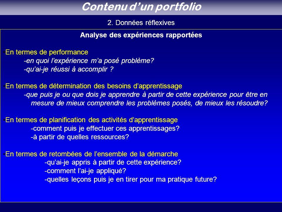 Analyse des expériences rapportées En termes de performance -en quoi lexpérience ma posé problème.