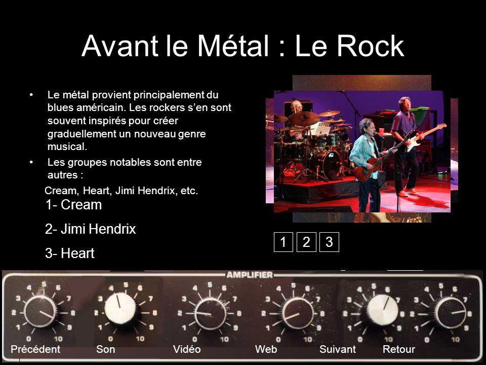 Avant le Métal : Le Rock Le métal provient principalement du blues américain. Les rockers sen sont souvent inspirés pour créer graduellement un nouvea
