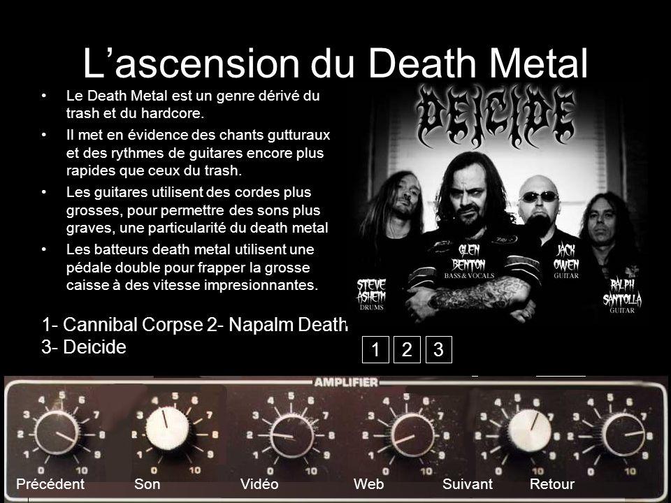Lascension du Death Metal Le Death Metal est un genre dérivé du trash et du hardcore. Il met en évidence des chants gutturaux et des rythmes de guitar