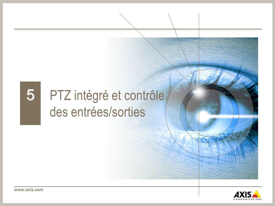 www.axis.com PTZ intégré et contrôle des entrées/sorties 5