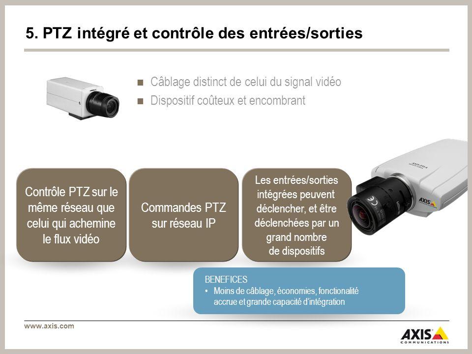 www.axis.com Les entrées/sorties intégrées peuvent déclencher, et être déclenchées par un grand nombre de dispositifs Contrôle PTZ sur le même réseau que celui qui achemine le flux vidéo Commandes PTZ sur réseau IP BENEFICES Moins de câblage, économies, fonctionalité accrue et grande capacité dintégration 5.