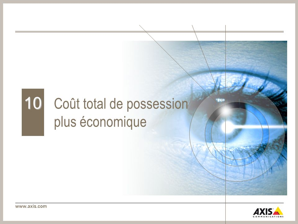 www.axis.com Coût total de possession plus économique 10