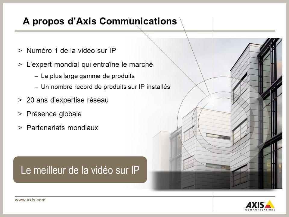 www.axis.com A propos dAxis Communications >Numéro 1 de la vidéo sur IP >Lexpert mondial qui entraîne le marché –La plus large gamme de produits –Un nombre record de produits sur IP installés >20 ans dexpertise réseau >Présence globale >Partenariats mondiaux Le meilleur de la vidéo sur IP