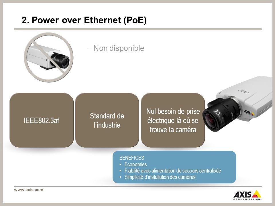 www.axis.com Nul besoin de prise électrique là où se trouve la caméra IEEE802.3af Standard de lindustrie BENEFICES Economies Fiabilité avec alimentation de secours centralisée Simplicité dinstallation des caméras 2.