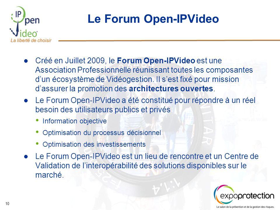 La liberté de choisir 10 Le Forum Open-IPVideo Créé en Juillet 2009, le Forum Open-IPVideo est une Association Professionnelle réunissant toutes les composantes dun écosystème de Vidéogestion.