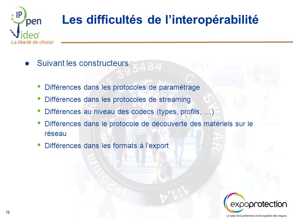 La liberté de choisir 18 Les difficultés de linteropérabilité Suivant les constructeurs : Différences dans les protocoles de paramétrage Différences d